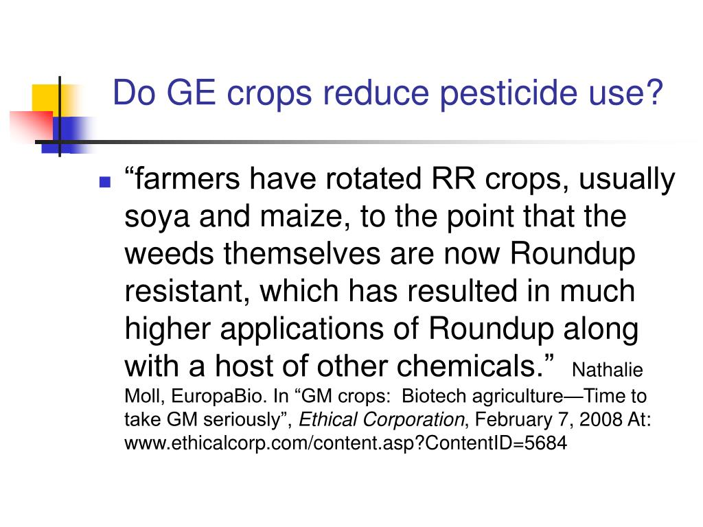Do GE crops reduce pesticide use?