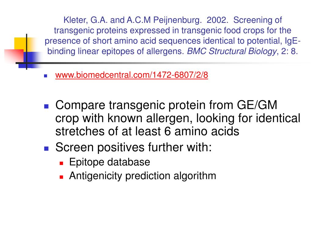 Kleter, G.A. and A.C.M Peijnenburg.  2002.  Screening of transgenic proteins expressed in transgenic food crops for the presence of short amino acid sequences identical to potential, IgE-binding linear epitopes of allergens.