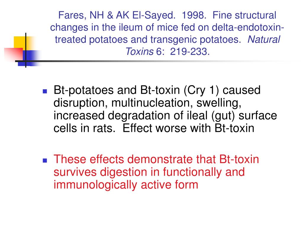 Fares, NH & AK El-Sayed.  1998.  Fine structural changes in the ileum of mice fed on delta-endotoxin-treated potatoes and transgenic potatoes.