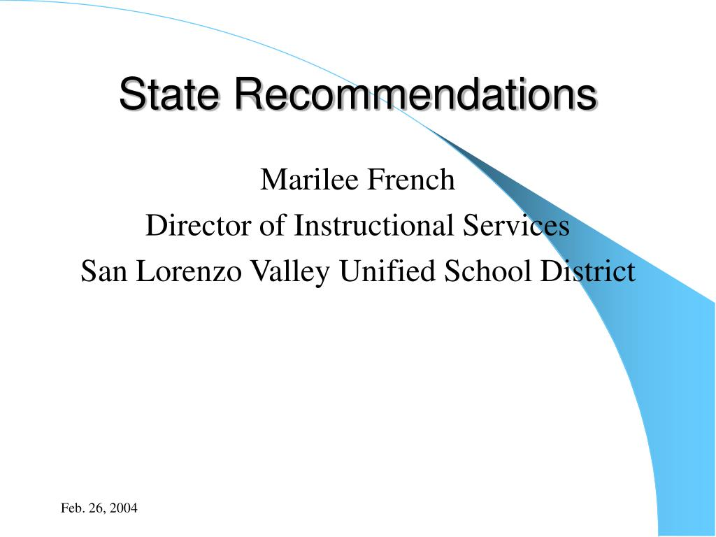 State Recommendations