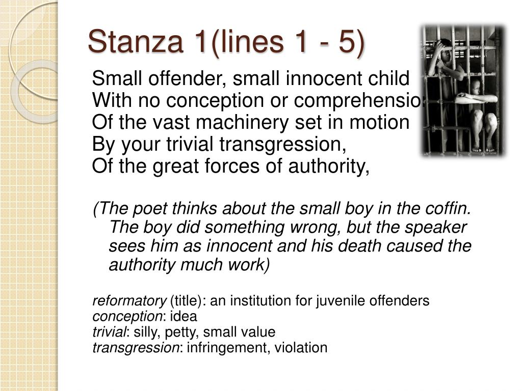 Stanza 1(lines 1 - 5)