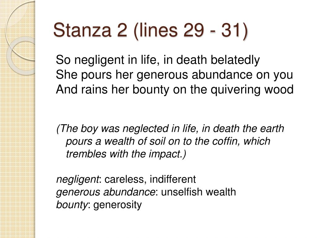 Stanza 2 (lines 29 - 31)