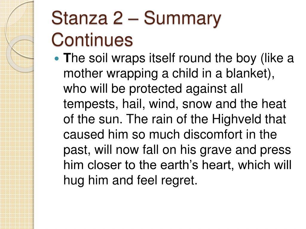 Stanza 2 – Summary Continues