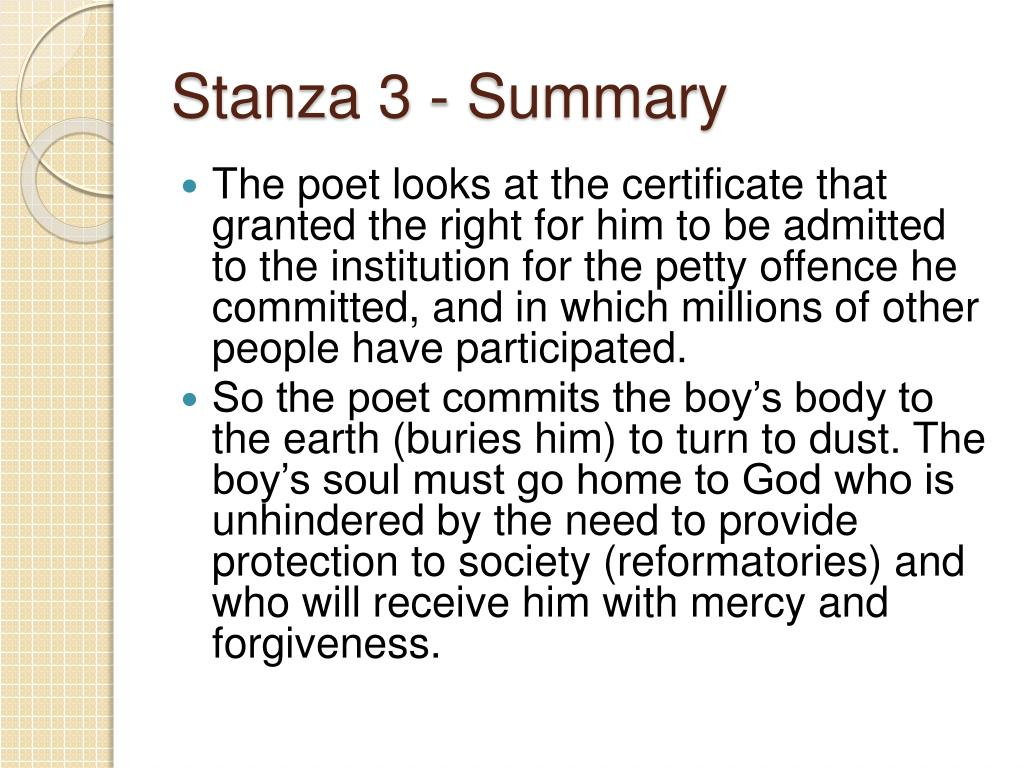 Stanza 3 - Summary