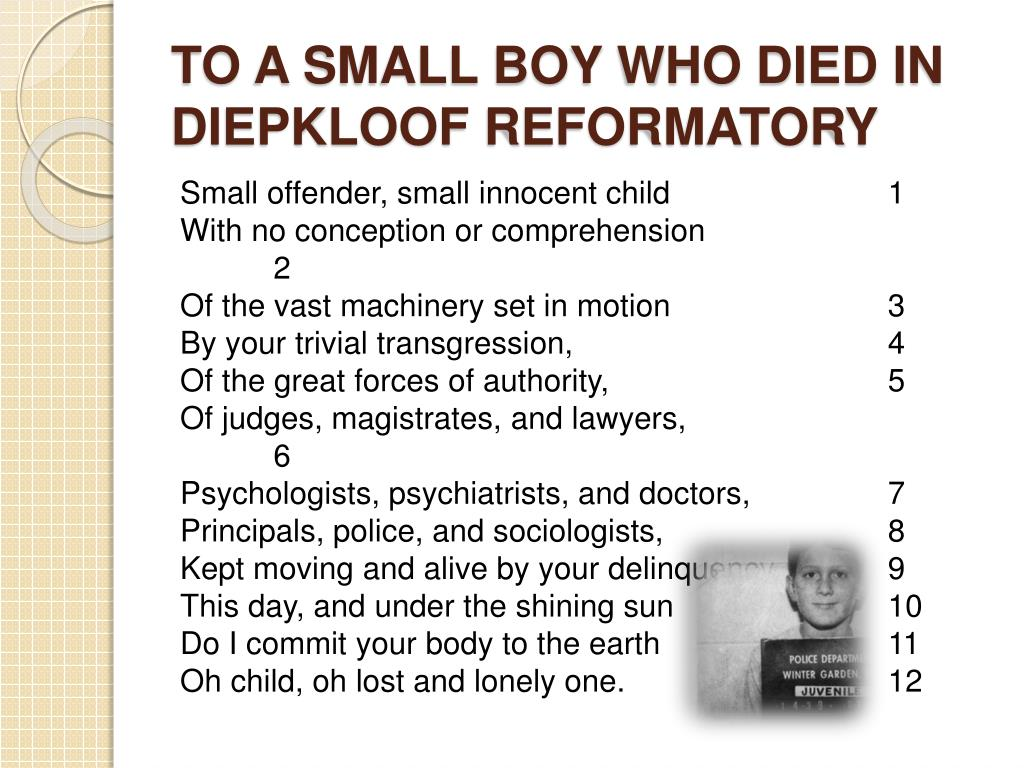 TO A SMALL BOY WHO DIED