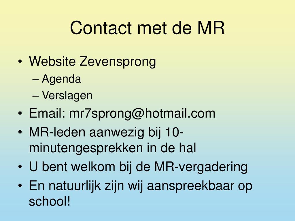 Contact met de MR