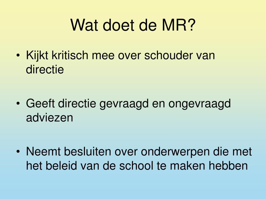 Wat doet de MR?