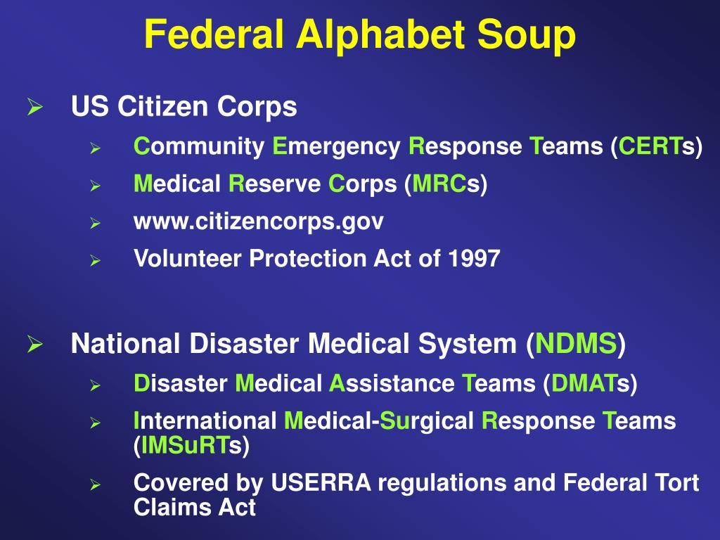 Federal Alphabet Soup
