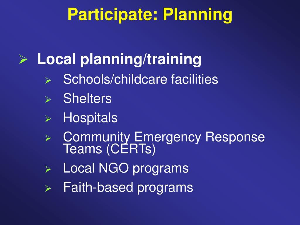 Participate: Planning