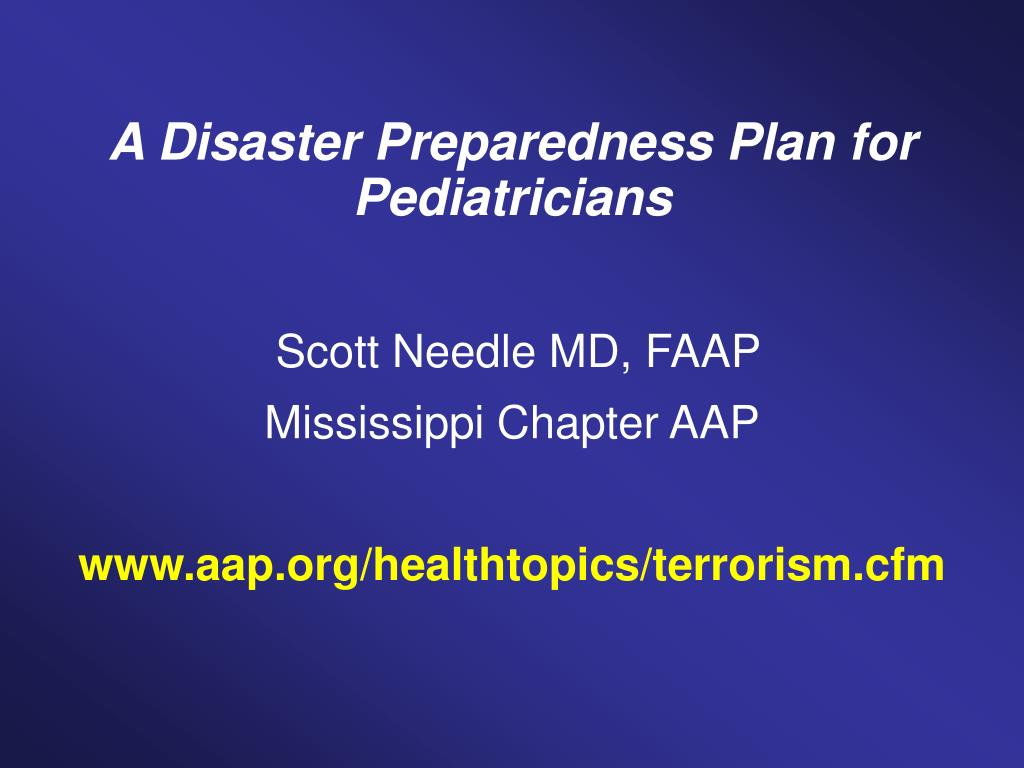 A Disaster Preparedness Plan for Pediatricians