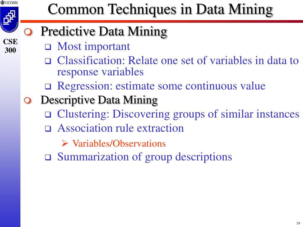 Common Techniques in Data Mining