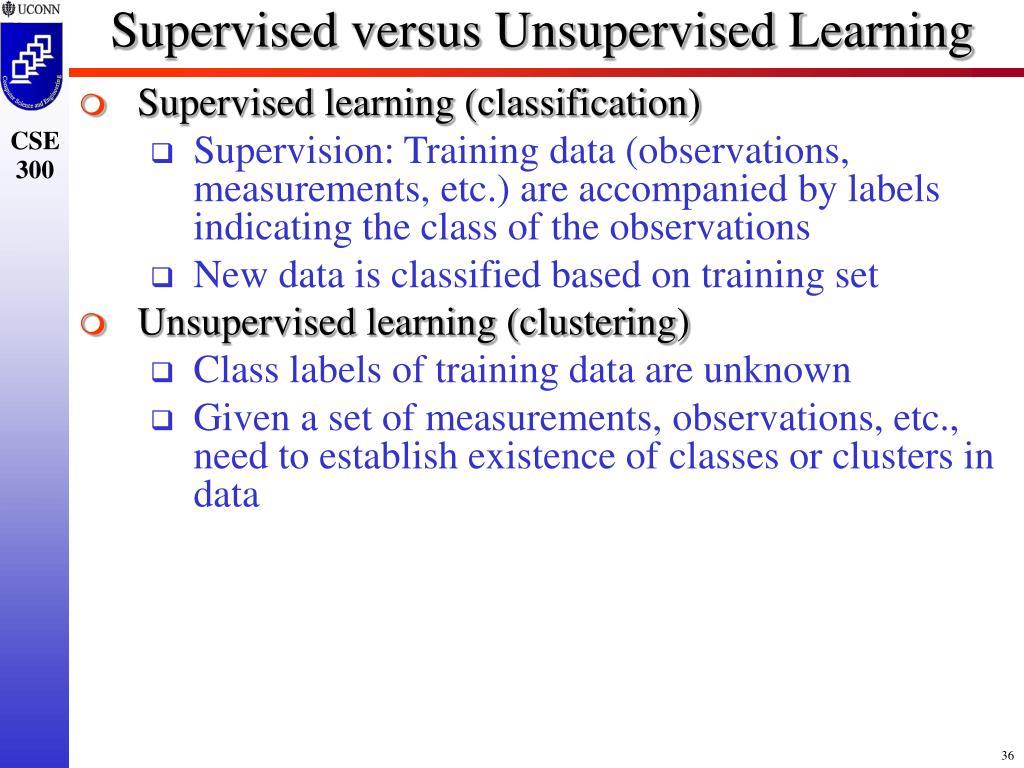 Supervised versus Unsupervised Learning