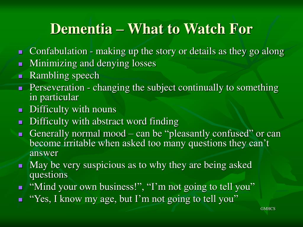 Dementia – What to Watch For