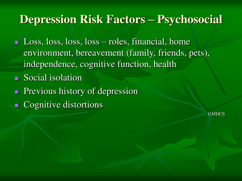 Depression Risk Factors – Psychosocial