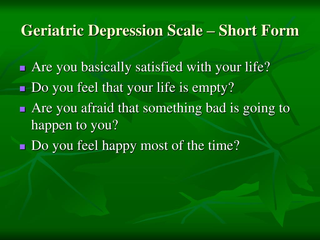 Geriatric Depression Scale – Short Form