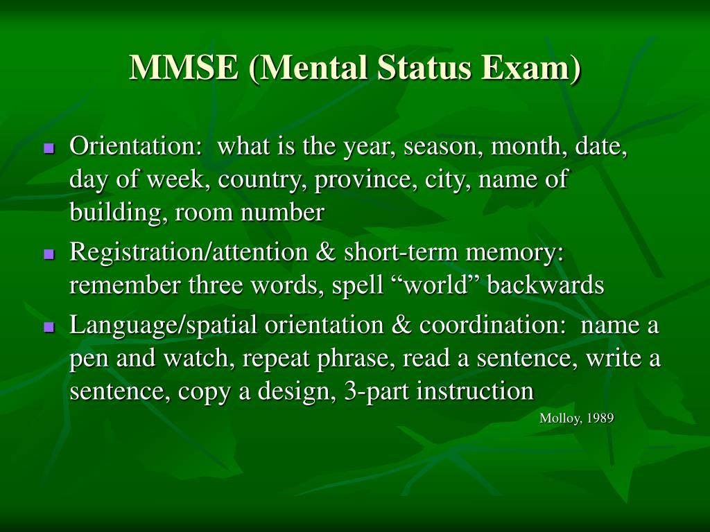 MMSE (Mental Status Exam)
