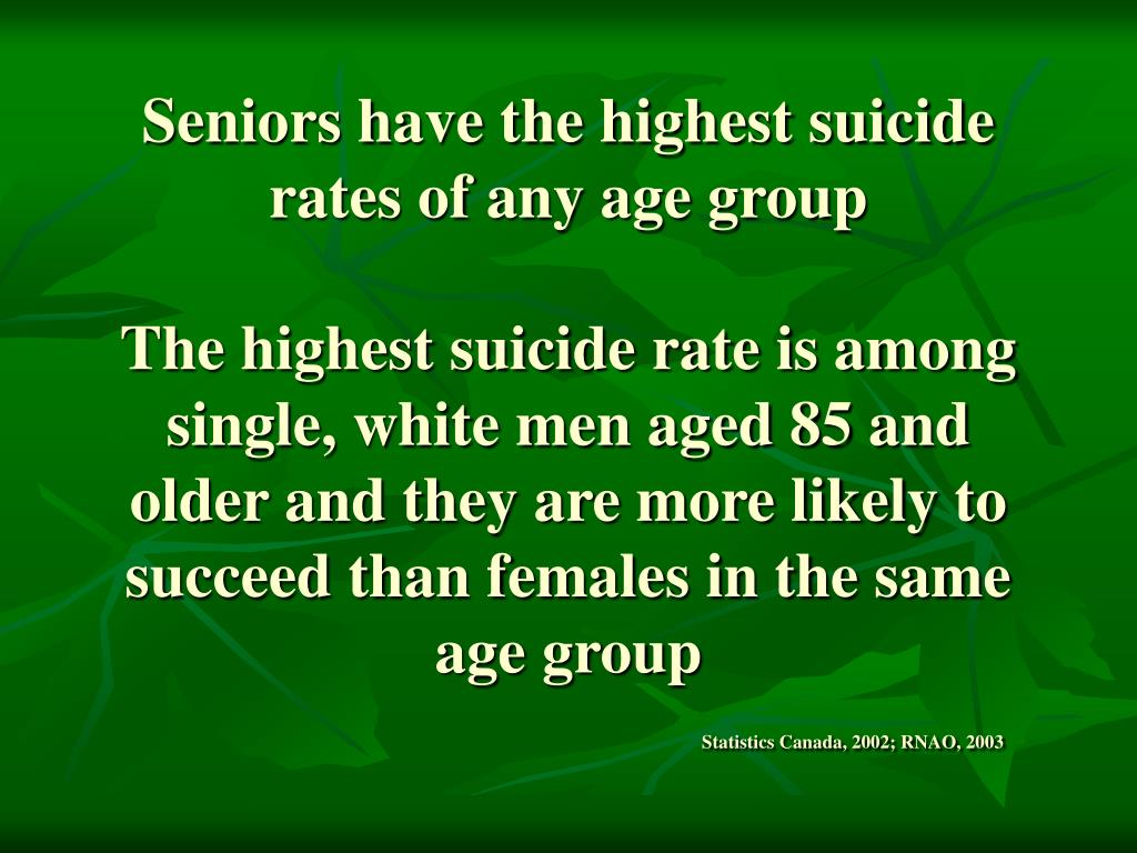 Seniors have the highest suicide rates of any age group