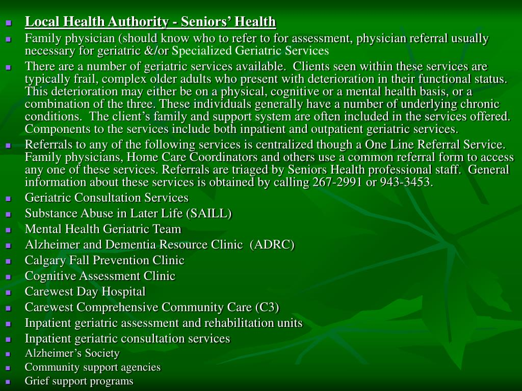 Local Health Authority - Seniors' Health
