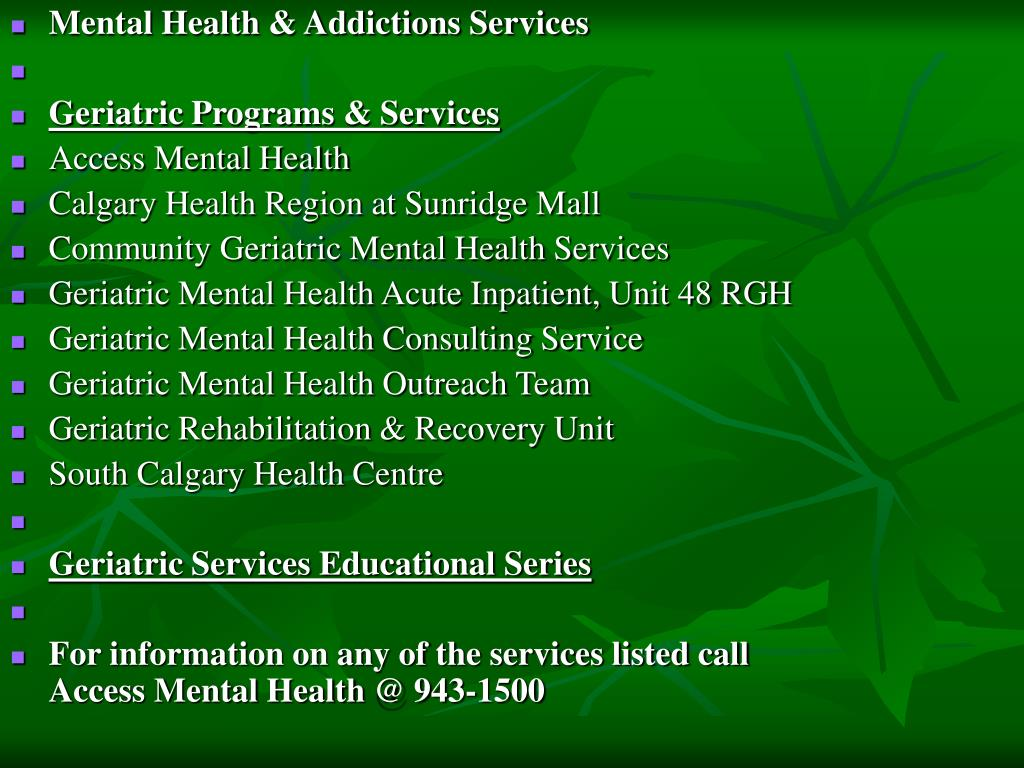 Mental Health & Addictions Services