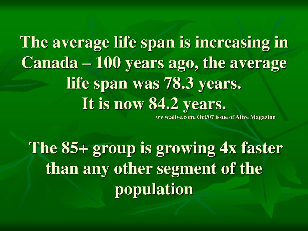 The average life span is increasing in Canada – 100 years ago, the average life span was 78.3 years.