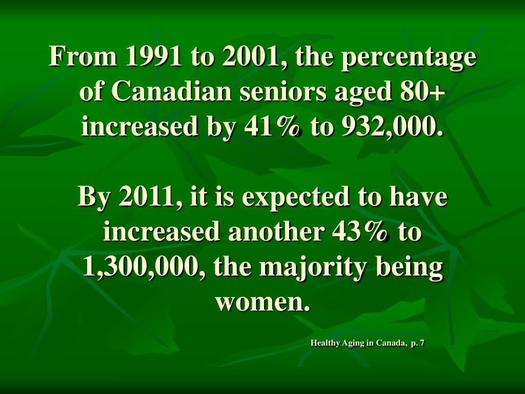From 1991 to 2001, the percentage of Canadian seniors aged 80+ increased by 41% to 932,000.