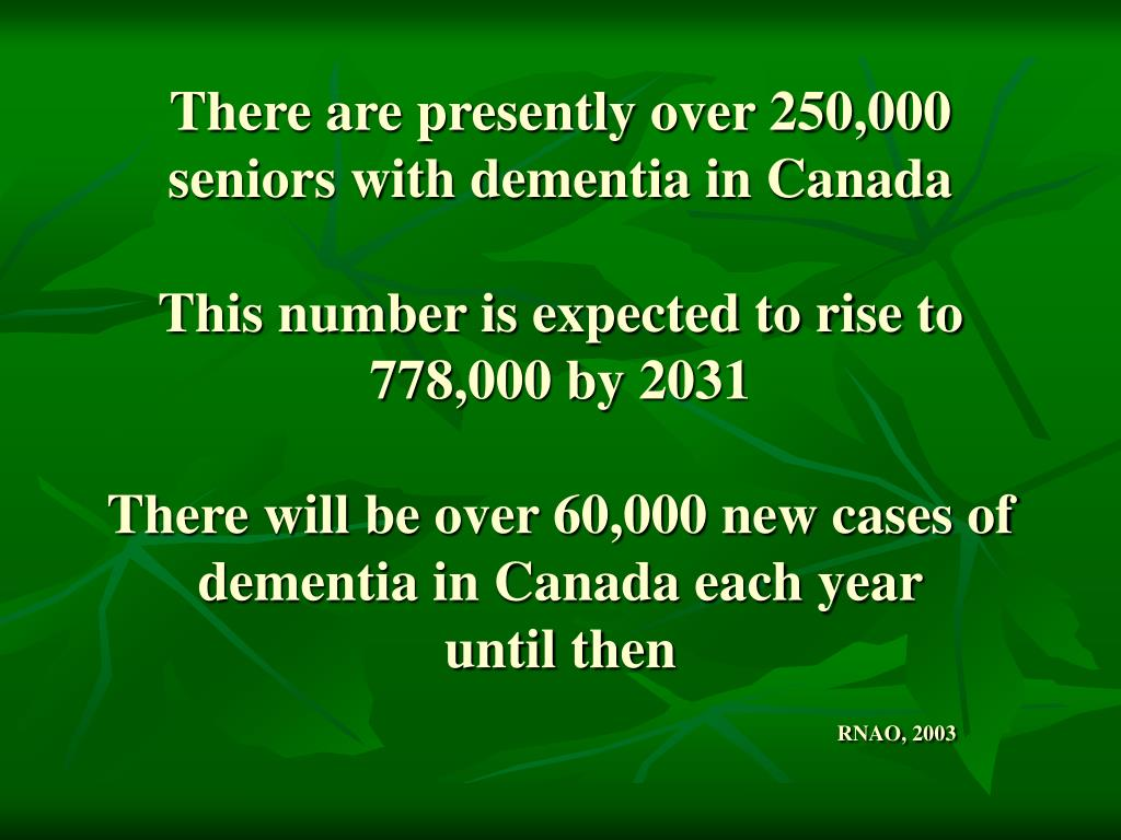 There are presently over 250,000 seniors with dementia in Canada