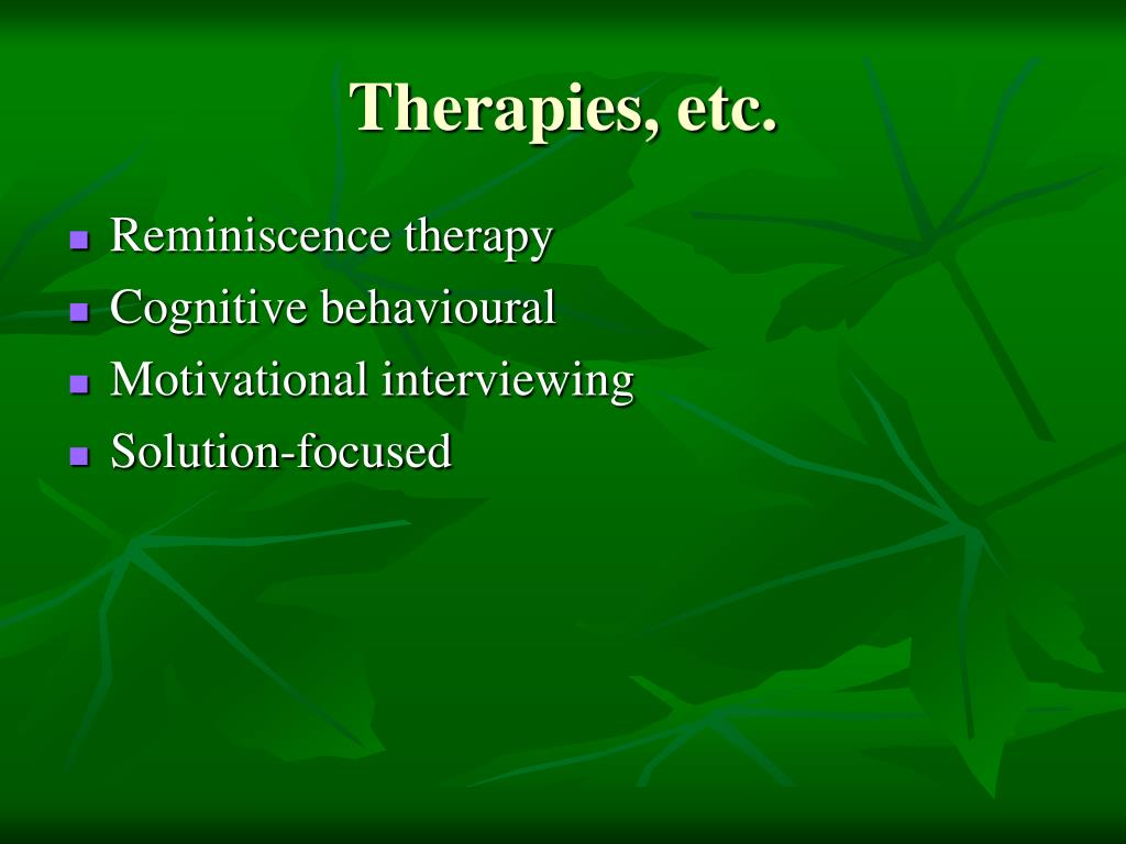 Therapies, etc.