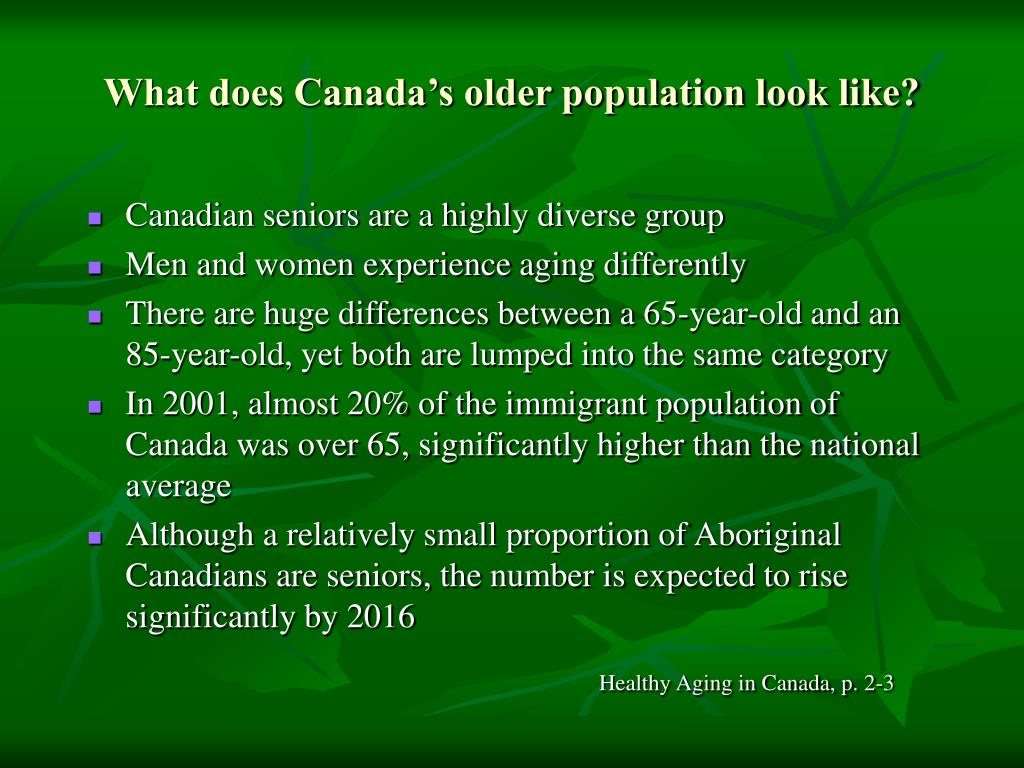 What does Canada's older population look like?