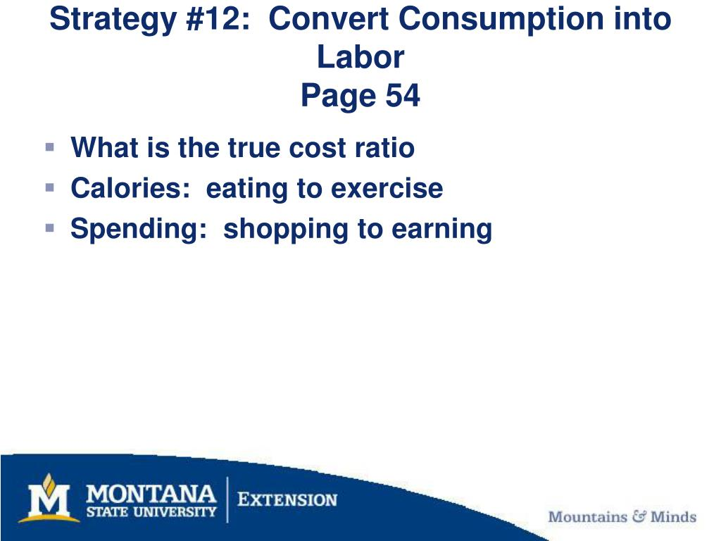 Strategy #12:  Convert Consumption into Labor