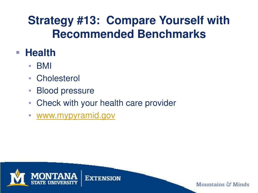 Strategy #13:  Compare Yourself with Recommended Benchmarks