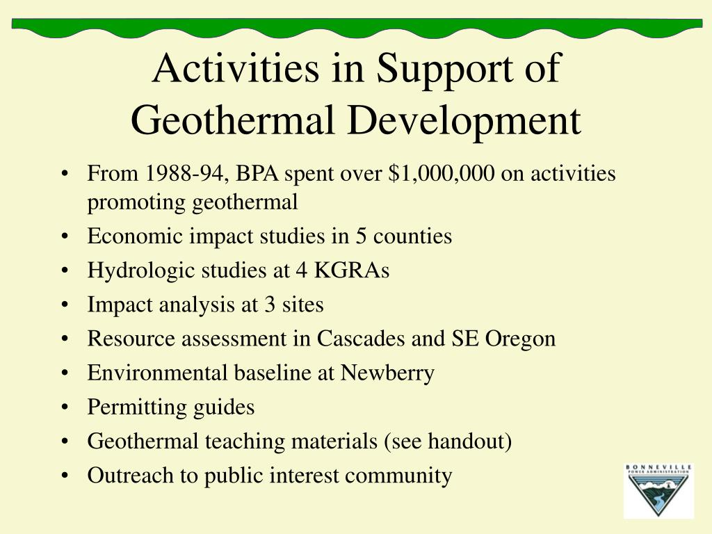 Activities in Support of Geothermal Development