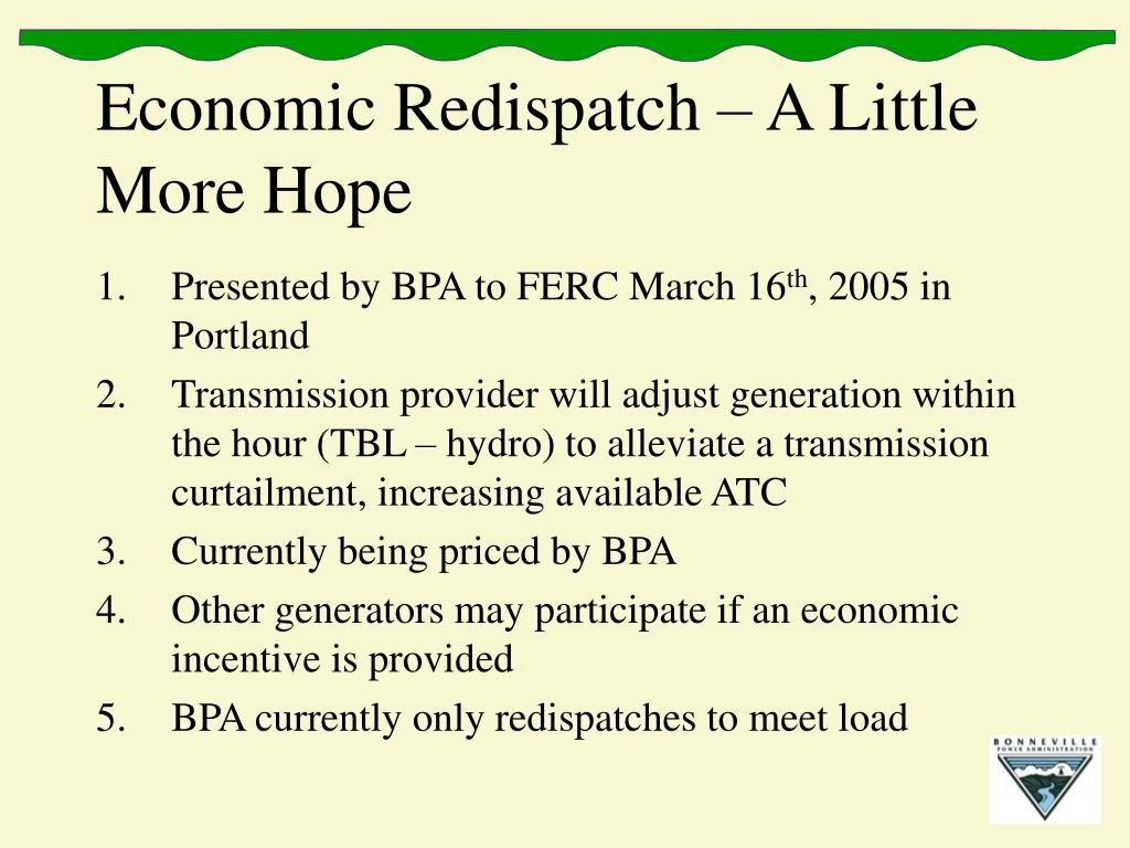 Economic Redispatch – A Little More Hope