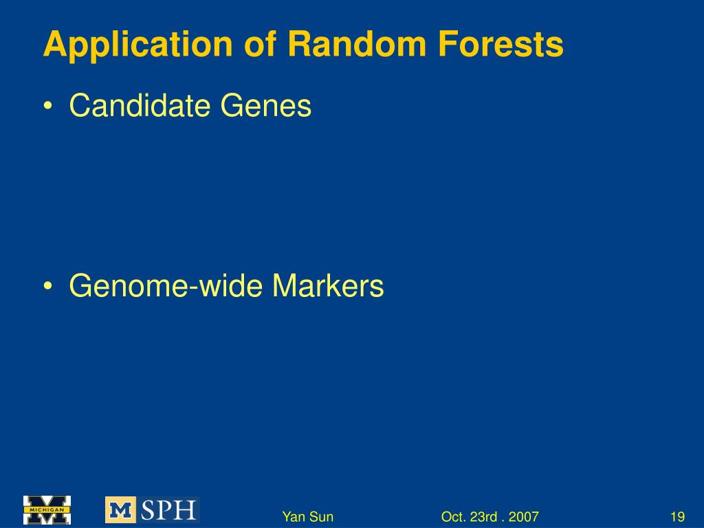 Application of Random Forests