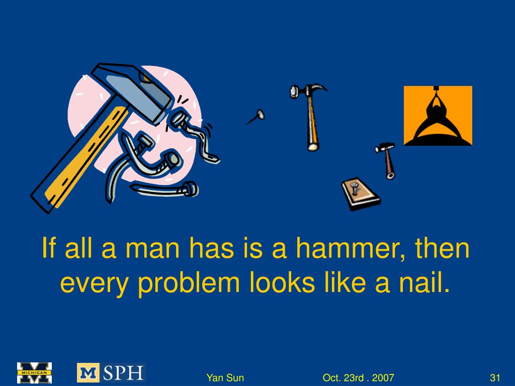 If all a man has is a hammer, then every problem looks like a nail.