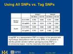 using all snps vs tag snps