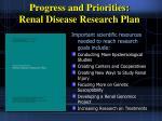 progress and priorities renal disease research plan