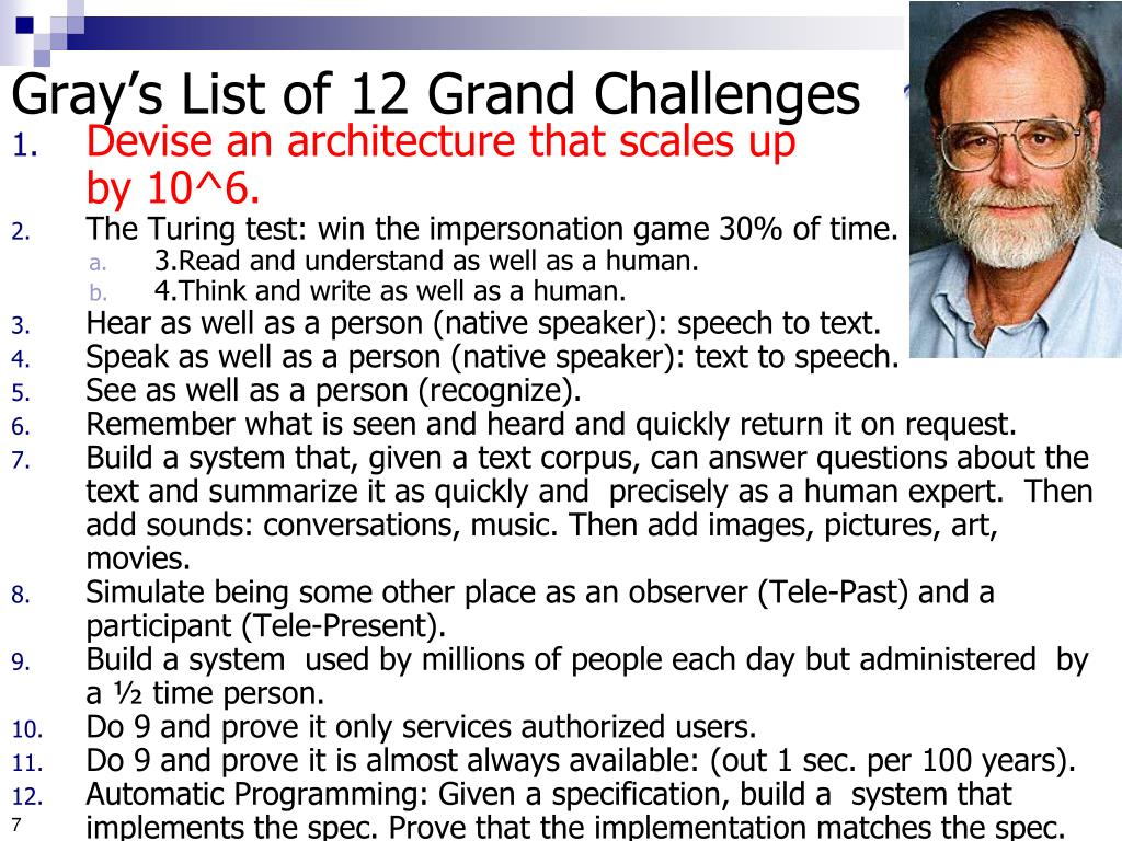 Gray's List of 12 Grand Challenges