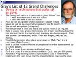 gray s list of 12 grand challenges