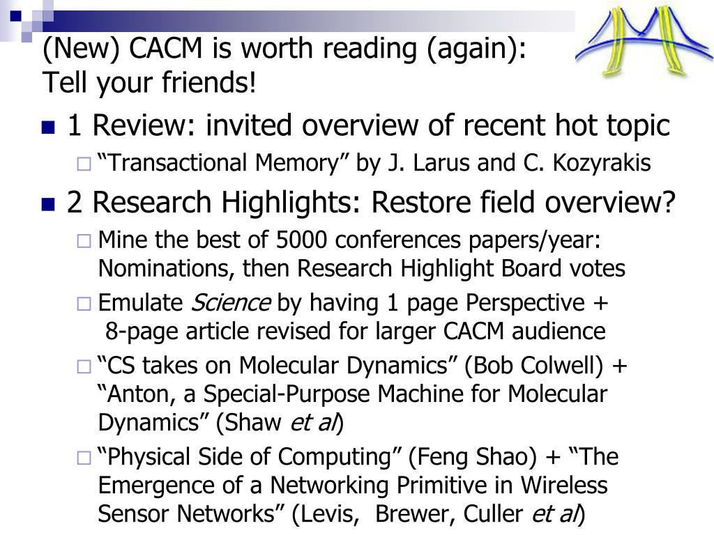 (New) CACM is worth reading (again):