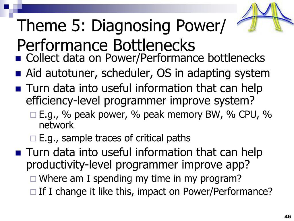 Theme 5: Diagnosing Power/ Performance Bottlenecks