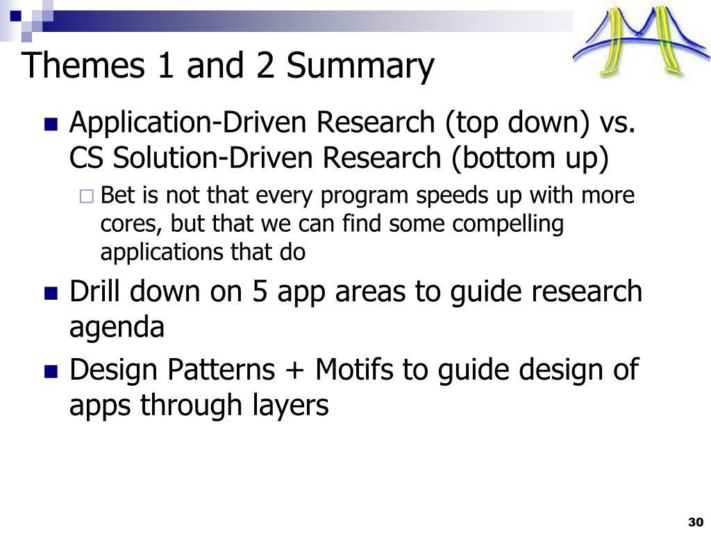 Themes 1 and 2 Summary