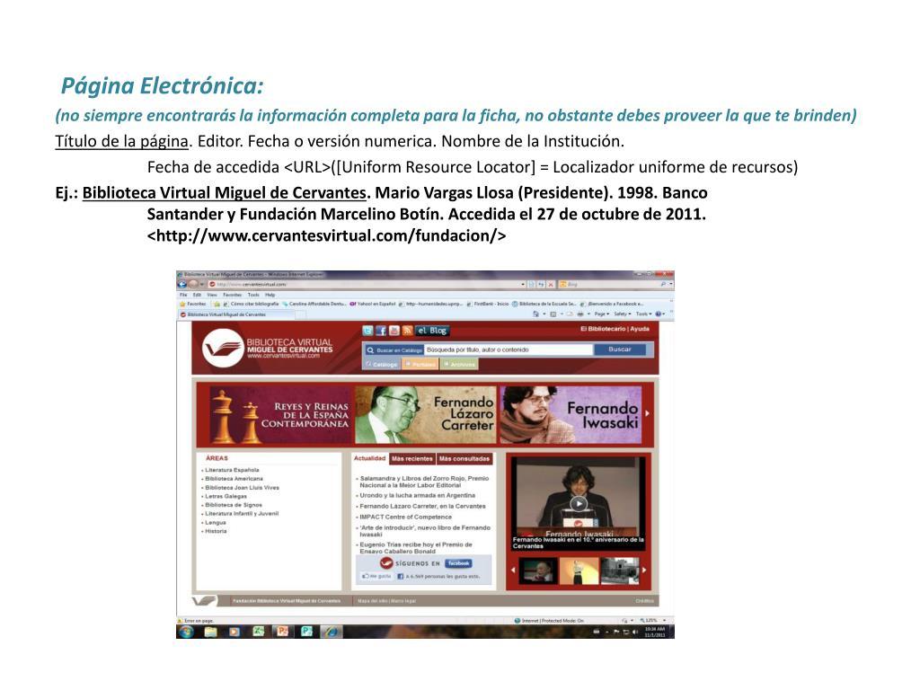 Página Electrónica: