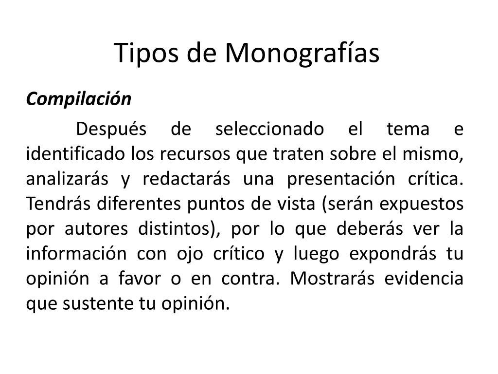 Tipos de Monografías