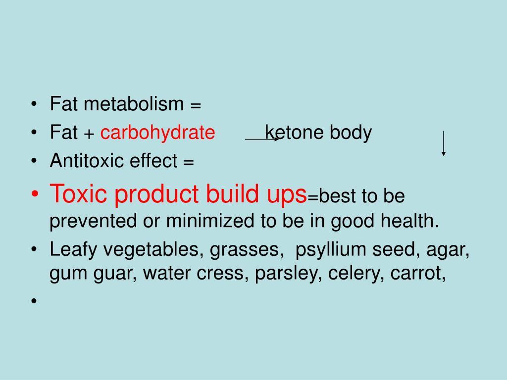 Fat metabolism =