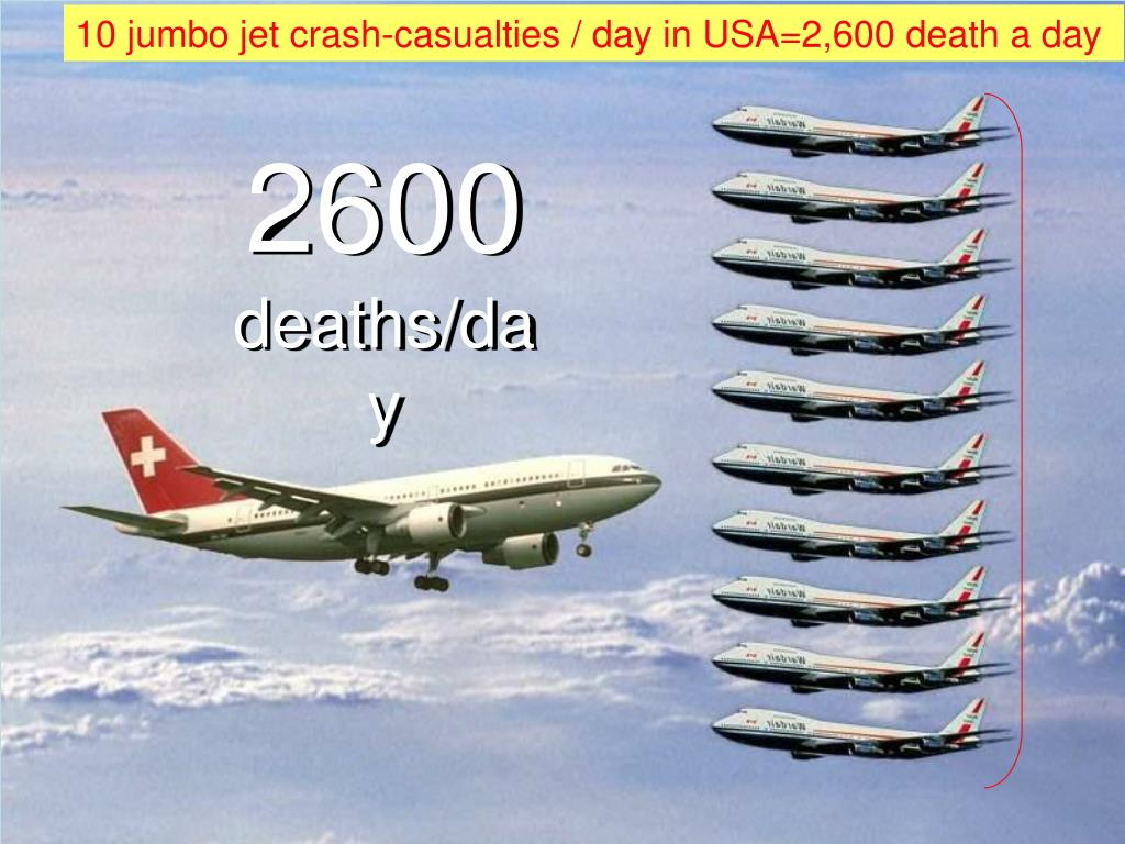 10 jumbo jet crash-casualties / day in USA=2,600 death a day