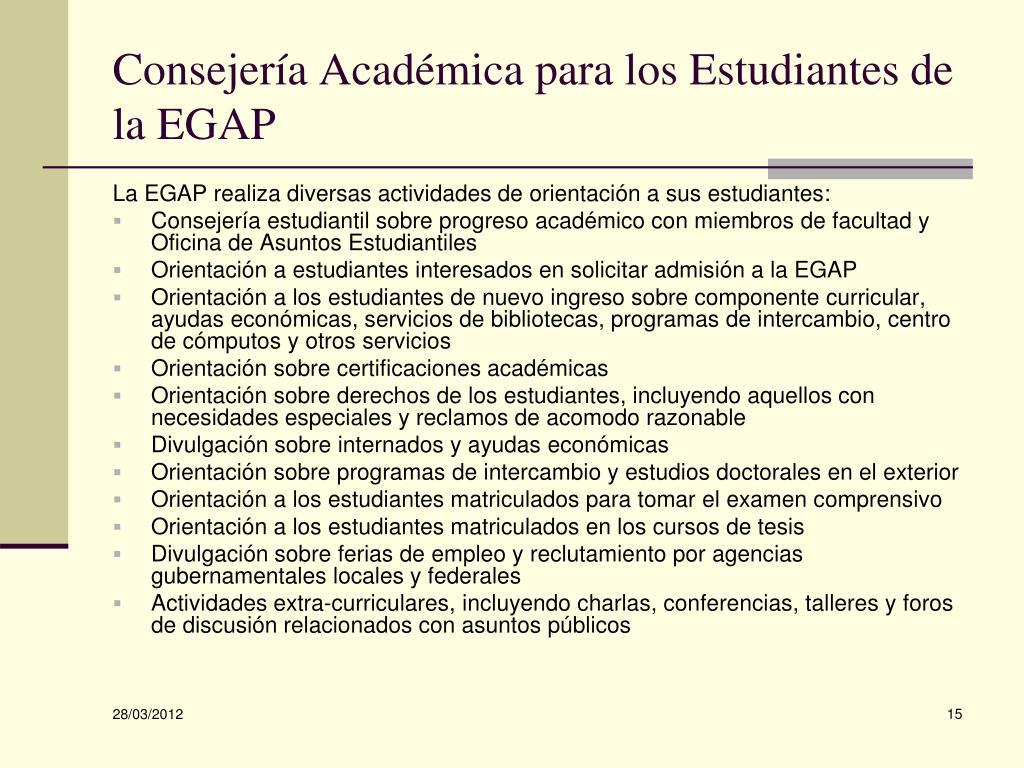 Consejería Académica para los Estudiantes de la EGAP