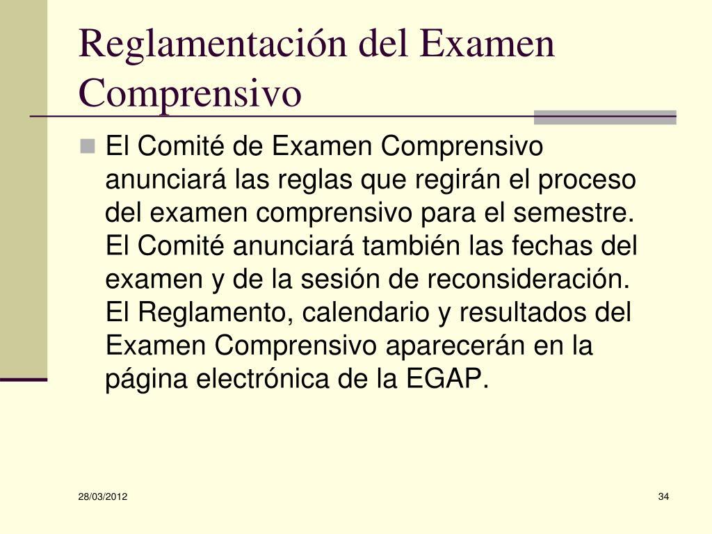 Reglamentación del Examen Comprensivo