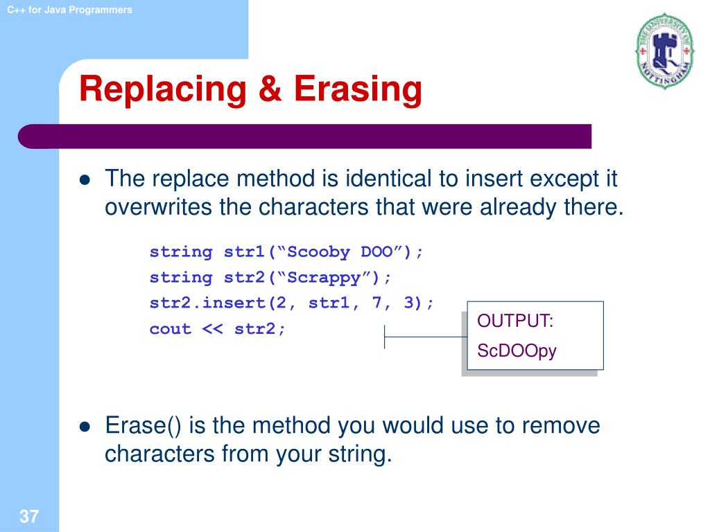 Replacing & Erasing