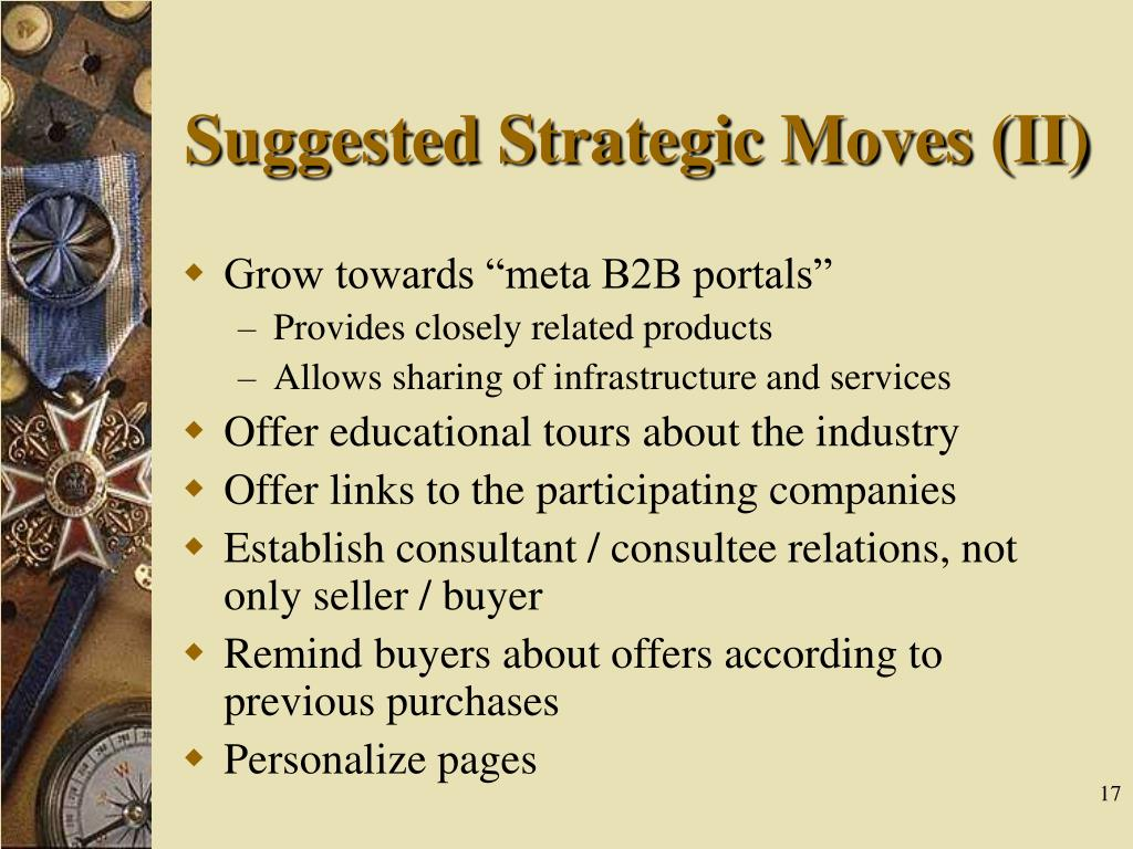 Suggested Strategic Moves (II)