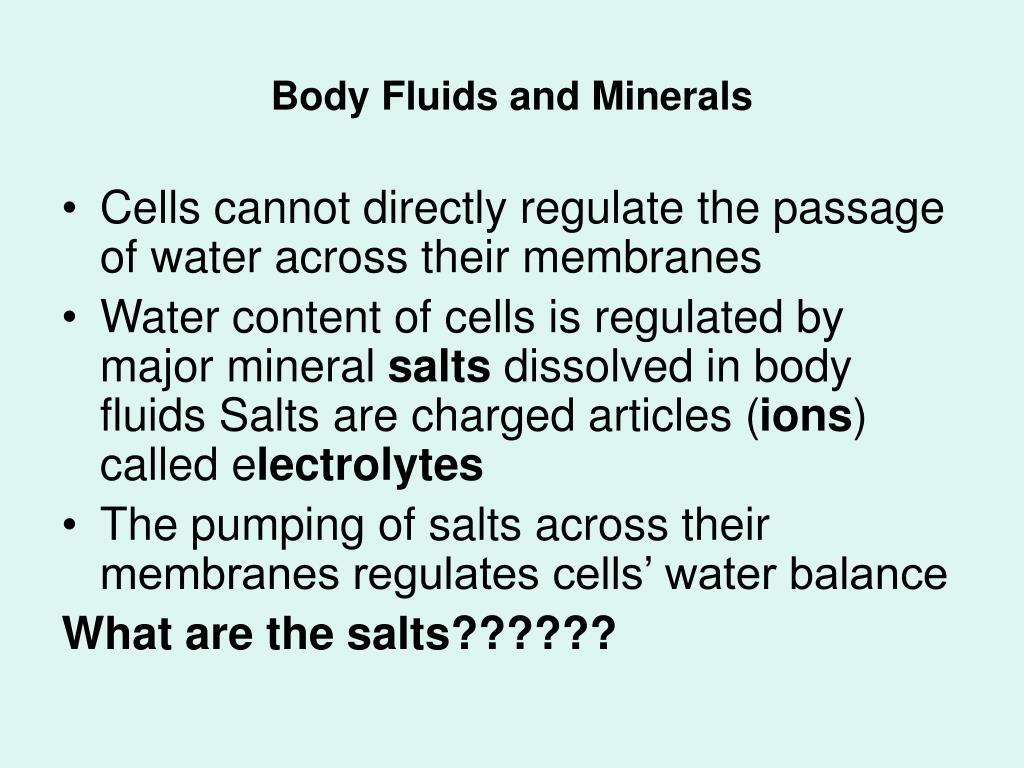 Body Fluids and Minerals